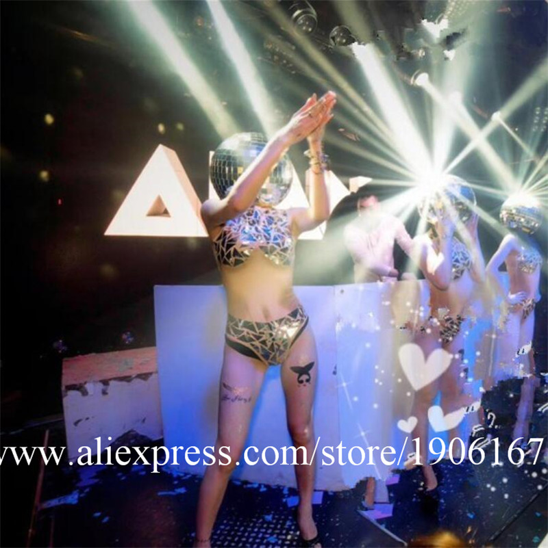 Ballroom dance costumes mirror men women singer stage show wears dj clothe Glass ball led helmet catwalk disco performance2