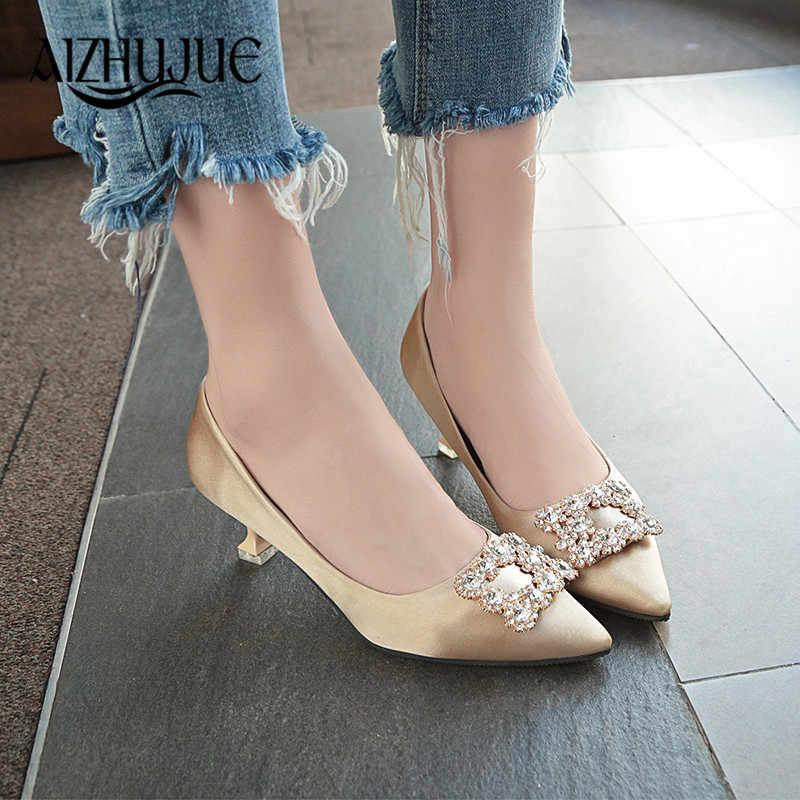 ... Women Pumps High Heel Bridal White Wedding Shoes Rhinestone Crystal  Shallow Fashion Faux Silk Satin Stiletto ... bf4ca7cec25b