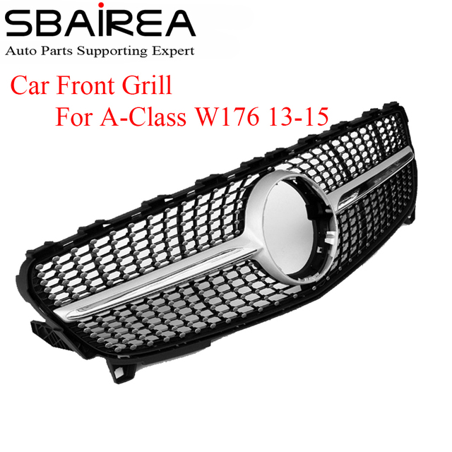 SBAIREA W176 Diamant Grille Pour Mercedes UNE Classe Avant Grill Pare-chocs Avec Emblème Badge ABS Grill 2013-2015 A180 a260 A200 a250