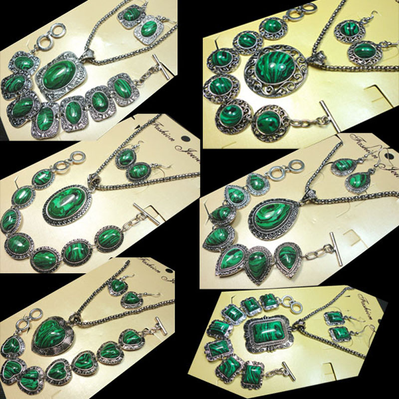 Bracelet Necklace-Sets Earring Pendant Malachite-Stone Silver Vintage Antique Women Fashion title=