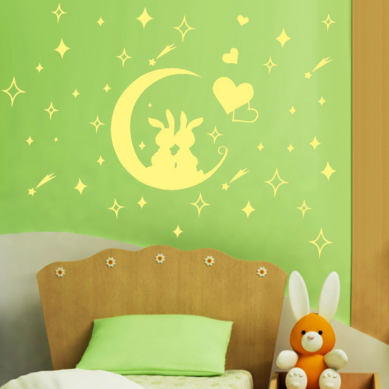 Aliexpress Com Buy Cartoon Fluorescent Romantic Lovely Rabbit Moon Wall Stickers Luminous Stars Kids Room Nursery Home Decor Mural Decal From Reliable
