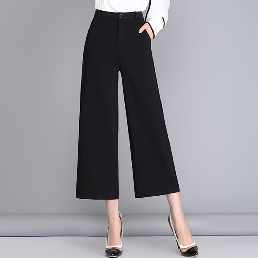 women plus size   wide     leg     pants   wild casual high waist summer ankle length   pants   office lady autumn work wera black suit   pants