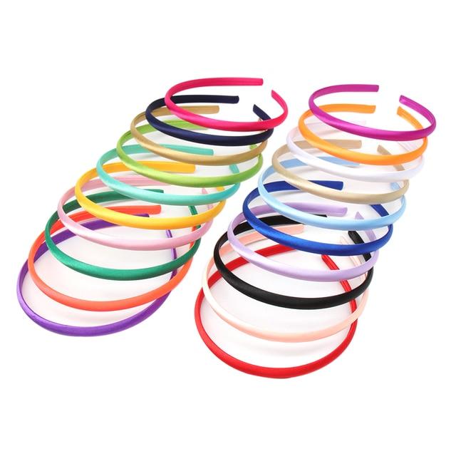100 ชิ้น/ล็อต Solid ซาตินสำหรับเด็กหญิง 10 mm ความกว้าง Candy สี Hairband อุปกรณ์เสริมผม Hoop