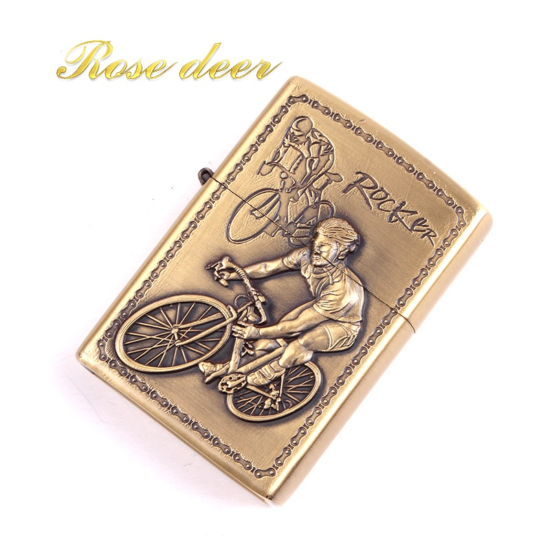 Metal attached present hell detective Bicycle kerosene lighter Windproof Smoking konstantine Vintage Style oil Lighter