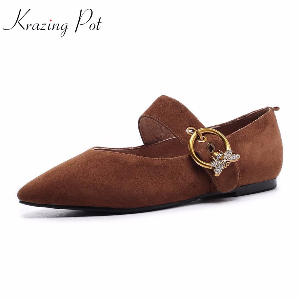 Krazing pot new sheep suede flats fashion metal round buckle preppy style shoes pointed toe sweet crystal bowtie women shoes L02 krazing pot empty after shallow shoes woman lace work flats pointed toe slip on sheep suede causal summer outside slippers l16
