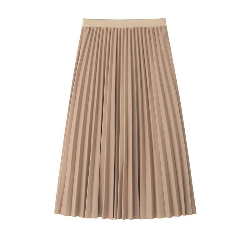 2019 Women Skirt High Waist Women Pleated Midi Skirt Female Jumper Ladies A-Line Midi Skirt Saia Vintage Spring Skirt