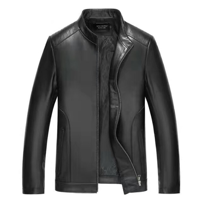 Brand Men Spring Genuine Leather Jacket For Men Jaqueta De Couro Masculina Black M-4XL Mens Pure Leather Jackets 16180