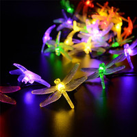 4 8M 20 LED Solar Fairy Lights Dragonfly Rope Lights Outdoor LED String Lights For Party