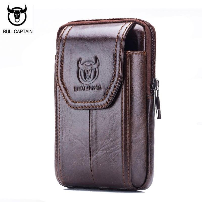 BULLCAPTAIN Leather Sling Cigarette Bag Male Purse Leisure Sling Bag Small Pocket New Men Waist Bag 5 inch Mobile Phone Bag bullcaptain new arrival 100
