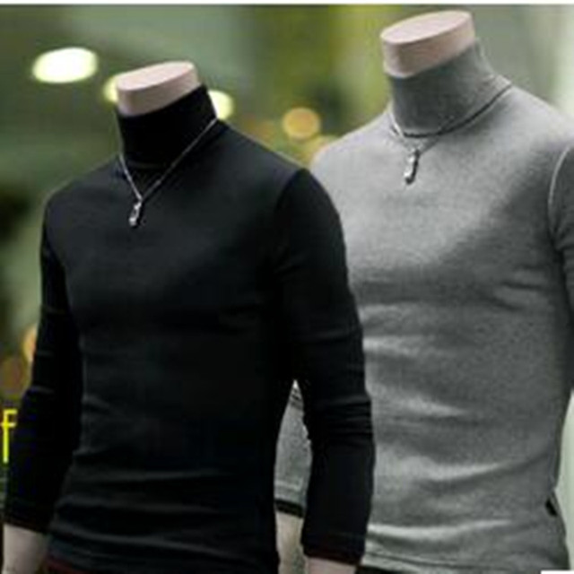 New 2016 Autumn And  Winter Male Slim Basic  Men's  Clothing  Thin  Pullover  Turtleneck Sweater Solid  Color Casual Sweater