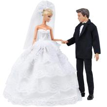 Princess White Five Layer Lace Wedding Dress and Prince Suit Clothes Set doll Ken Dolls