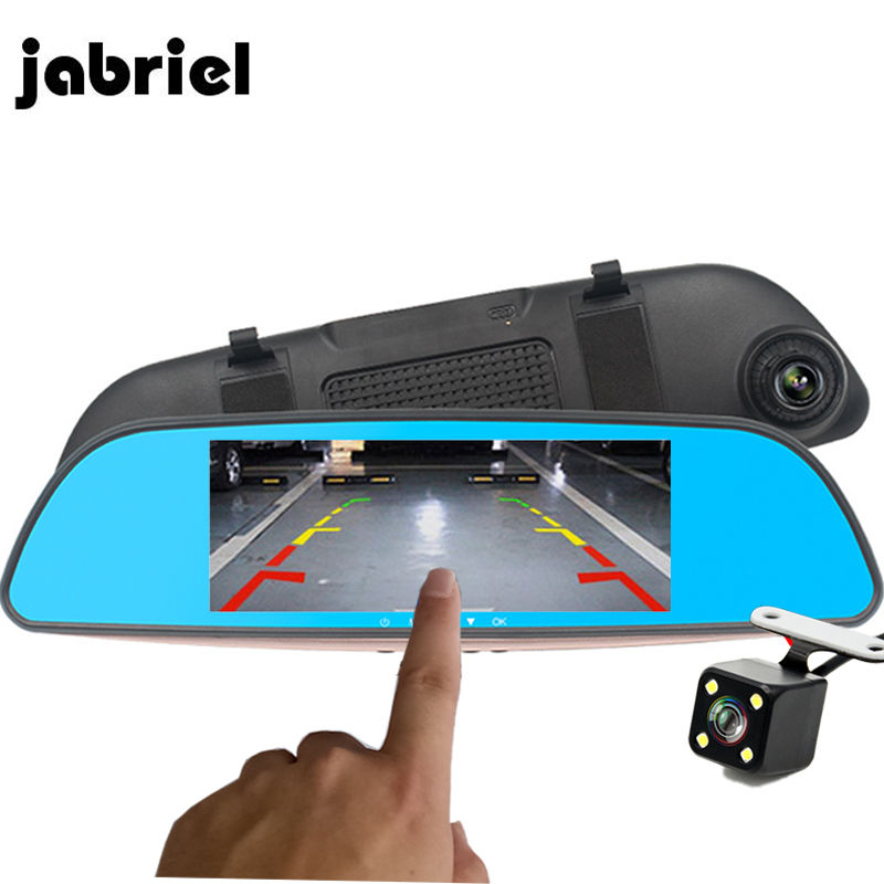 Jabriel <font><b>Car</b></font> <font><b>DVR</b></font> <font><b>With</b></font> <font><b>Two</b></font> <font><b>Cameras</b></font> Rear View Mirror Auto Registrator Drive Digital <font><b>Car</b></font> Video Recorder Dash Cam Dual Lens HD Dvrs image