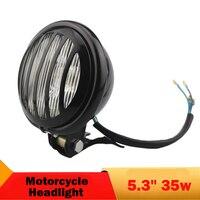 Żarówka Halogenowa 12 v 35 W Okrągły Reflektor Motocykla 5.3 ''Grill Głowy lampa Jazdy Światła Przeciwmgielne Wysokiej Mijania dla Harley Honda Yamaha