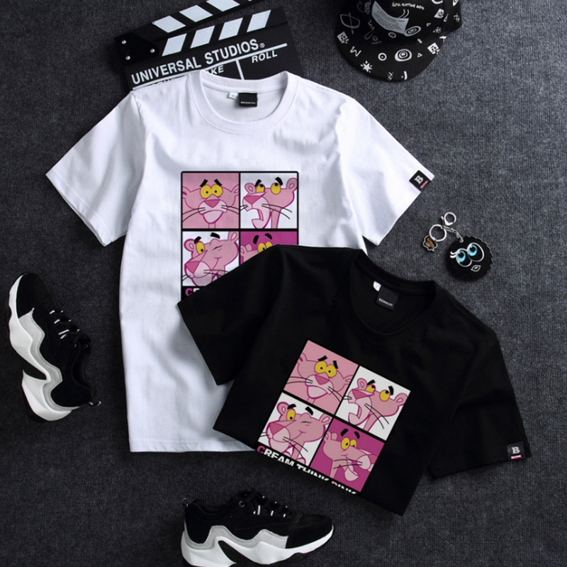 WSFS   T     Shirt   Women Summer Short Sleeves Tee   Shirts   Tops Harajuku Pink Panther Tshirt 65% Cotton Ulzzang   T  -  shirt   Women Plus Size