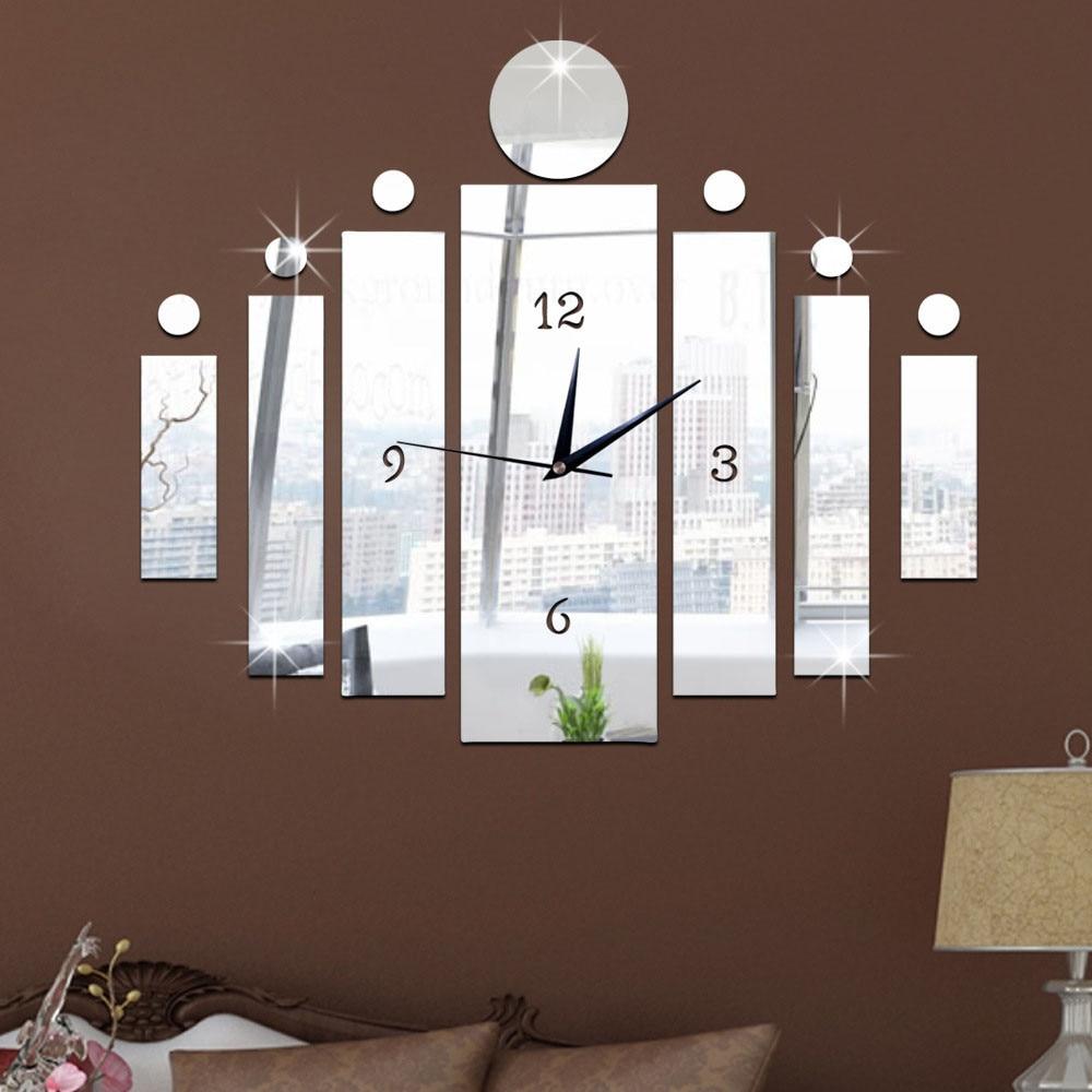 Pareti A Specchio Design eccellente qualità specchio ps plasticluxury 3d specchio argento orologio  da parete design moderno complementi arredo casa orologio autoadesivo della