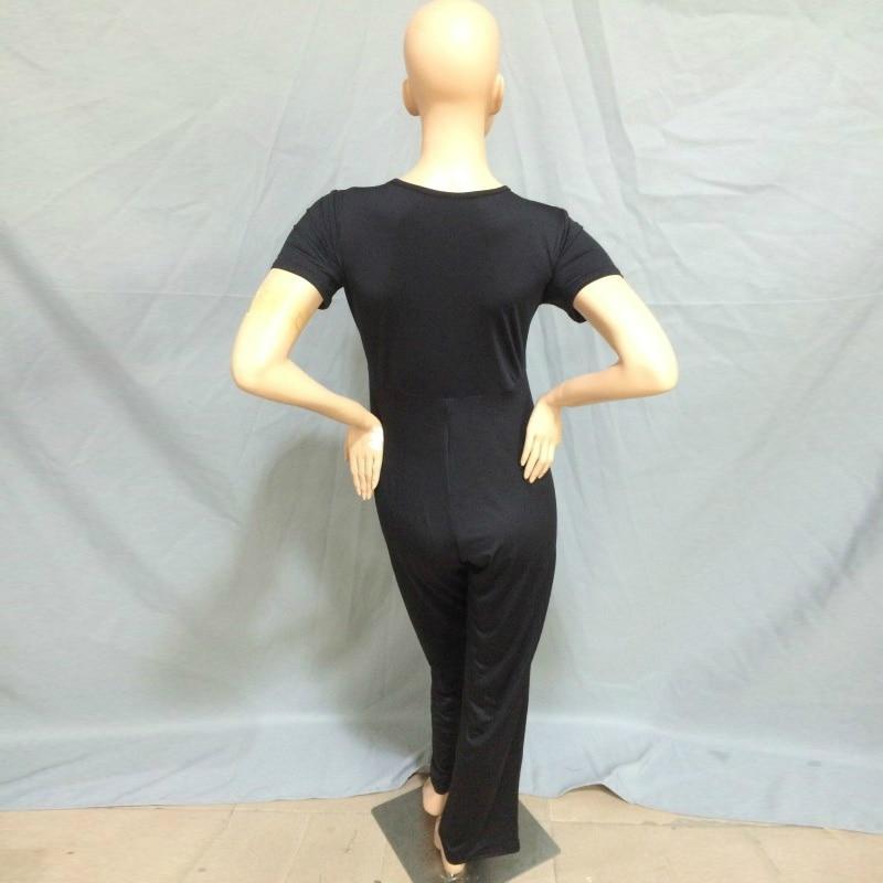 XXXL Plus Size Sexy Jumpsuits New Summer Women's Rompers Jumpsuit Casual Black Bodysuit Short Sleeve V-Neck Tunic Long Playsuits 5