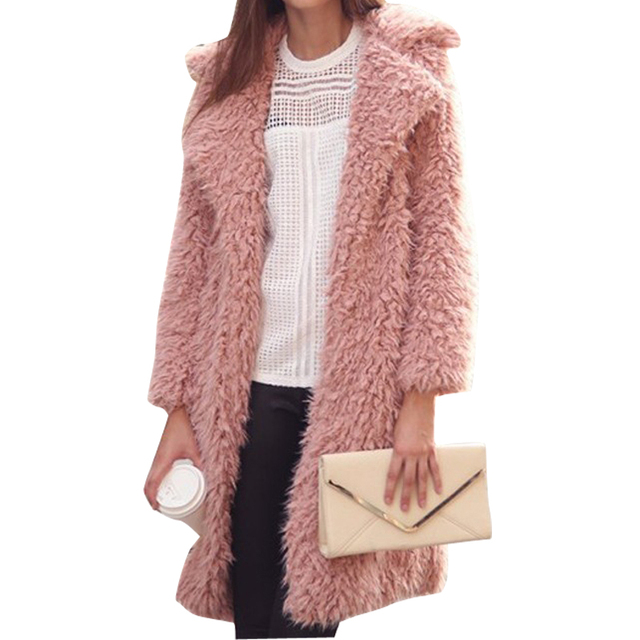 Autumn Winter Women Fur Coat 2017 Long Sleeve Cardigan Coat Female Warm Big Size Overcoat Pink Slim Warm Women Outwear Coats