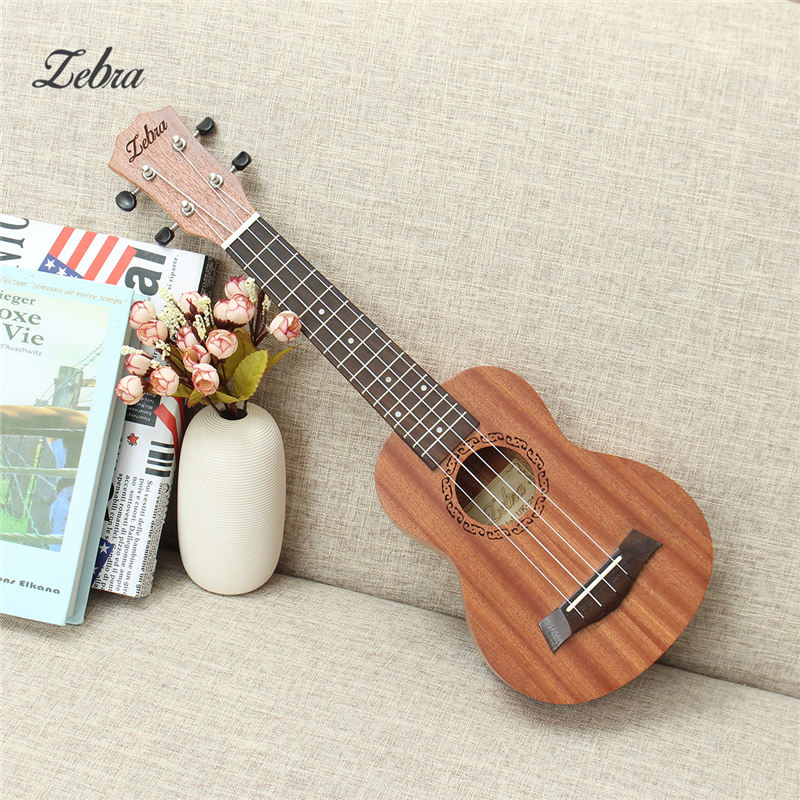 Hot High Quality 21Inch Ukulele Hawaii Mini Guitar 4 Strings Uke Brown Rosewood Instrument Soprano Ukelele Gift