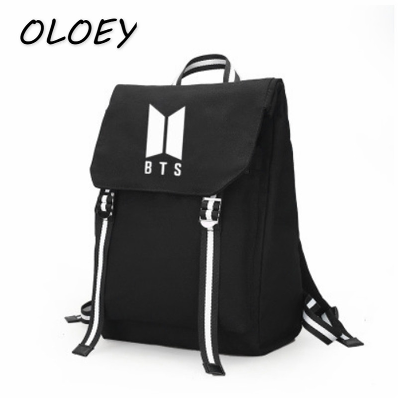 BTS Canvas Backpack Female Bangtan Boys Bag Army Fan Schoolbag For Teenager  Student Bag Women Travel Laptop Bag!-in Backpacks from Luggage   Bags on ... c8e25c94780c0