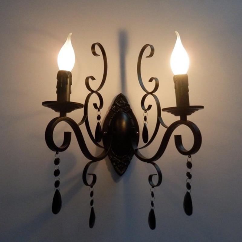 Double Heads E14 Sveces gaismas metāla kristāla sienas lampas - Iekštelpu apgaismojums