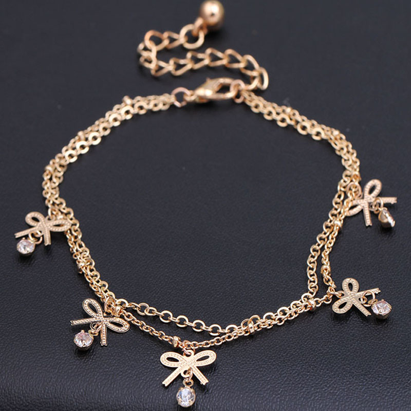 Simple flower anklets jewelry gold color hand ankle chain foot jewelry pulsera tobillo hot Pentagon anklets