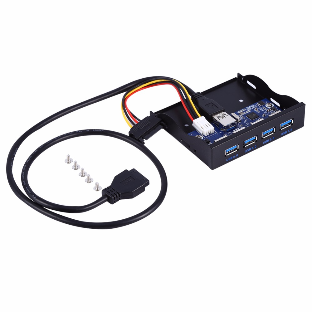 4 Ports USB 3.0 En Métal Floppy Bay Panneau Avant Hub D'extension SATA Connecteur D'alimentation Adaptateur