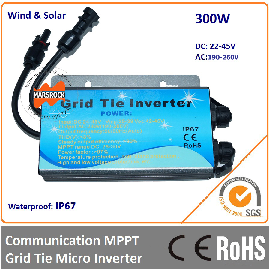 Waterproof IP67!!! 300W grid tie micro inverter with communication function, 22-45VDC to 190-260VAC for 350W 36V solar panels free shipping 600w wind grid tie inverter with lcd data for 12v 24v ac wind turbine 90 260vac no need controller and battery