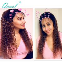 Qearl толщиной 180% Плотность Ombre 1b/30 # бразильского Волосы remy вьющиеся Синтетические волосы на кружеве парики для волос предварительно сорвал в