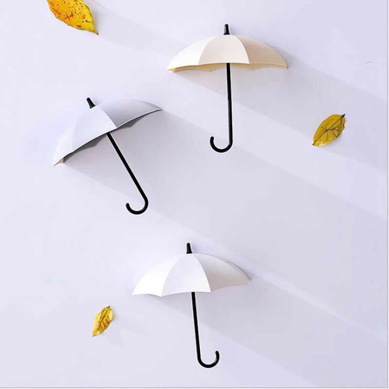 Image 3 - 3pcs/set Multifunction Umbrella Wall Hook Cute Umbrella Wall Mount Key Holder Wall Hook Hanger Organizer Durable Key Holder-in Hooks & Rails from Home & Garden