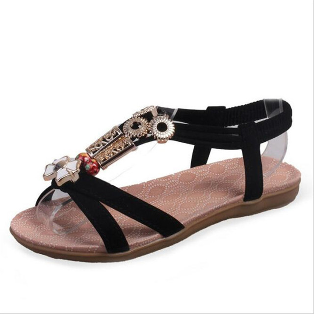 POADISFOO 2017 New  fashion summer flower  with beads B sandals  comfy  women's  flat ankle strap  For Women .HYKL-598