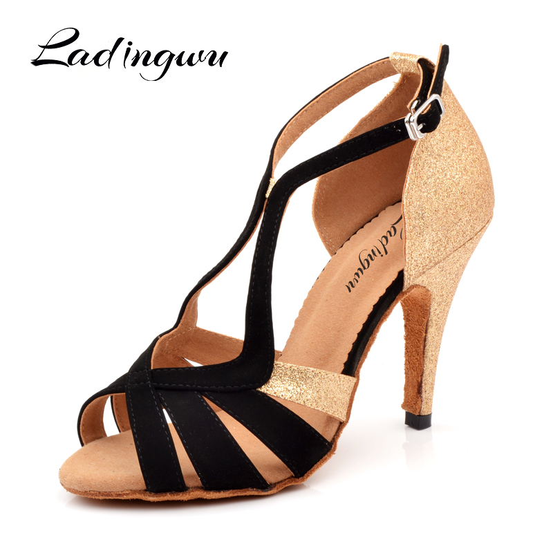 Ladingwu 2018 New Brand Black/Golden Women's Dance shoes Glitter and Flannel Ballroom Party Dance Shoes Salsa Latin Dance Shoes