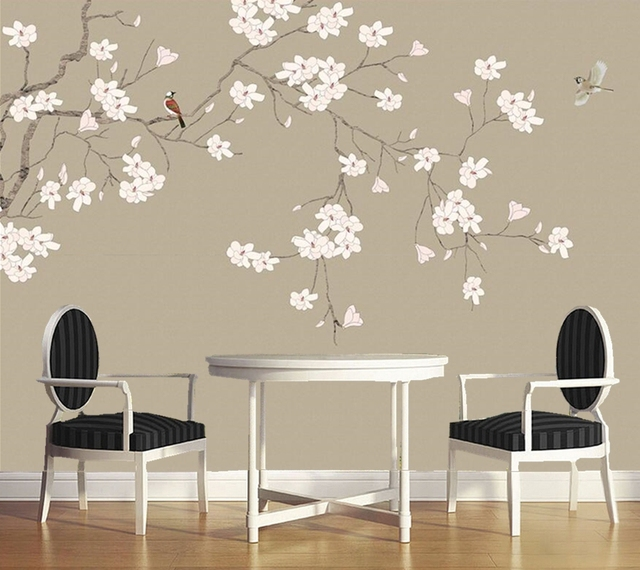 Wall papers home decor magnolia flower chinese style for Bird wallpaper home decor