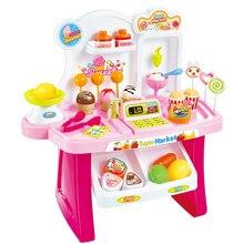 34 Pcs Kids Plastic Supermarket Cash Register Toy Miniature