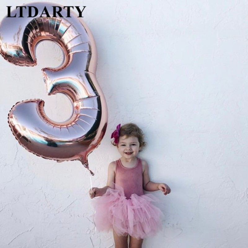40 inch number balloon 1 2 3 4 5 Number Digit Helium foil Ballons Baby Shower 1st Birthday Party Wedding Decor Balls Supplies(China)
