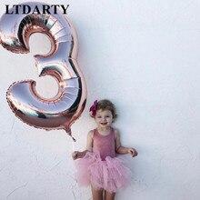 40 polegada número balão 1 2 3 4 5 número dígitos hélio folha ballons chuveiro do bebê 1st aniversário festa de casamento decoração bolas suprimentos