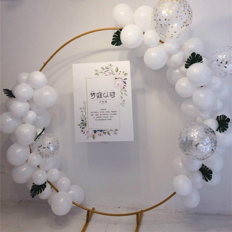 Cirkel Bruiloft Boog Achtergrond Smeedijzeren Plank Decoratieve Props Diy Ronde Party Achtergrond Plank Bloem Met Frame - 3