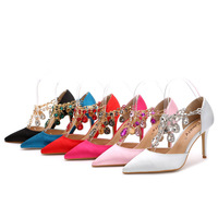 Girls Shoes Pointed Toe Diamond Fine heeled Red Silk Satin High heeled Wedding Shoes Blue Rose Red Sandals Big size US 11