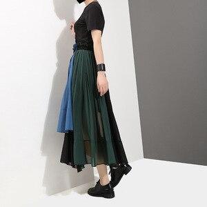 Image 4 - [EAM] 2020 новая весенняя юбка с высокой эластичной талией зеленого цвета, плиссированная Асимметричная юбка Haf body, женская мода, универсальная JG208