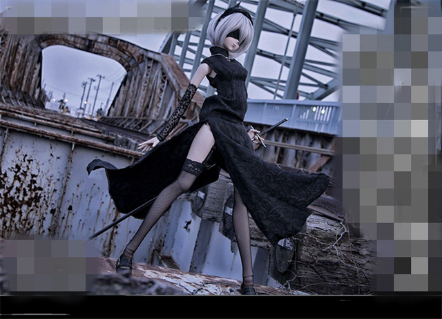 NieR: Automata YoRHa 2B No.2 Type B Cheongsam Sexy Uniforms Cosplay Costume  Stockings