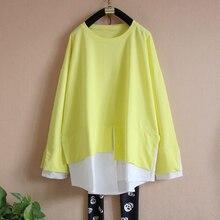 Superaen春pluzサイズ女性の長袖ステッチtシャツ緩い綿韓国スタイルレディースtシャツファッションカジュアル新しい