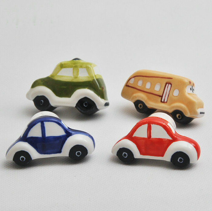 Lovely Childlike Ceramic City Car Theme Cupboard Closet Cabinet Drawer Furniture Knob Handle For Nursery 4PCS/Set