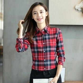 2019 Spring New Fashion Casual Lapel Plus Size Blouses Women Plaid Shirt Checks Flannel Shirts Female Long Sleeve Tops Blouse 2