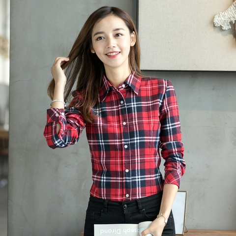 2019 Spring New Fashion Casual Lapel Plus Size Blouses Women Plaid Shirt Checks Flannel Shirts Female Long Sleeve Tops Blouse Lahore