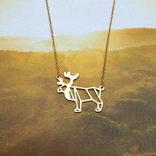30PCS Geometric Christmas Origami Deer Necklace Animal Antler Reindeer Horn Stag Woodland Moose Bambi Elk Charm Chain Necklaces
