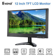 EYOYO 12inch TFT LCD Monitor 1366×768 300cd/m2 With VGA HD USB Input Built-in Dual Loudspeakers For CCTV Laptop DVR DVD Camera