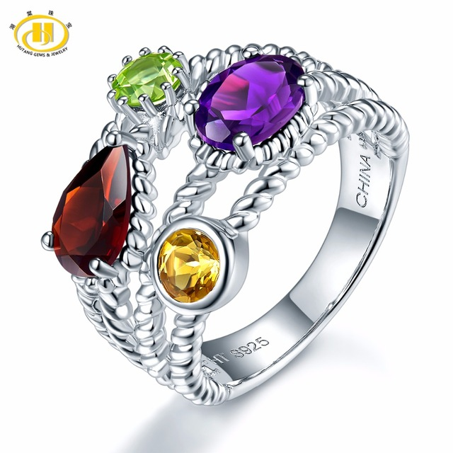 цена Hutang Natural Multi-color Gemstone Ring Solid 925 Sterling Silver Jewelry Amethyst Garnet Citrine Peridot 2017 New Design онлайн в 2017 году