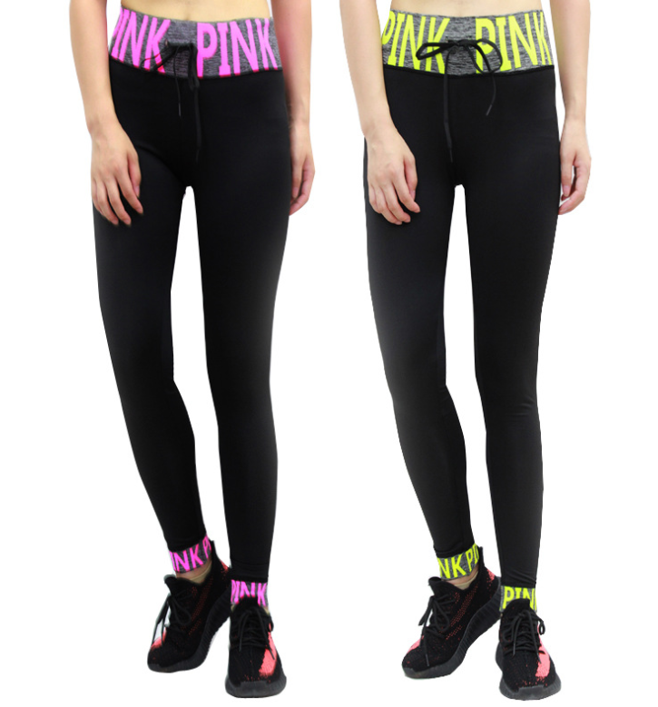 Casual PINK Letter Women Active Fitness   Leggings   Sportswear Quick Drying Fitness Trousers Street Skinny   Leggings   Pants