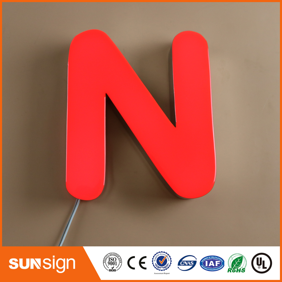 Face Lit Epoxy Resin LED Channel Letter Sign Mini Metal Letter