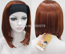 Honey  3/4 Wig With headband Straight Synthetic Hair wigs Copper red  mix order Ladies Heat Resistant Hair Wigs FREE SHIPPING все цены