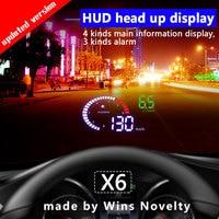 X6 Car HUD Head Up Display OBD 2 GPS Digital Car Speedometer Alarm Speed Projector Warning Auto HUD OBD2 Display
